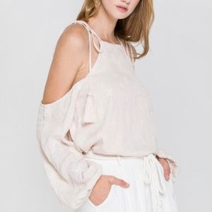 Anthro NWT FTR Lily Top Embroidered Cold Shoulder